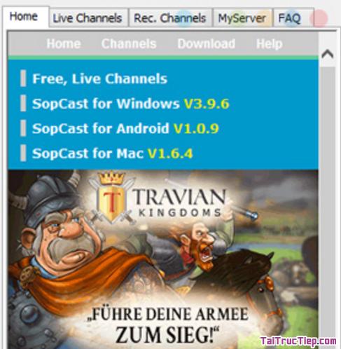 Hình 3 Hướng dẫn tải và cài đặt ứng dụng SopCast cho Windows